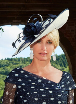 Tina Townsend Mother of the Bride navy fascinator with white spots by Condici