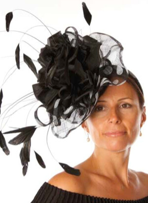 Tina Townsend Mother of the Bride black fascinator by Gwyther Snoxell