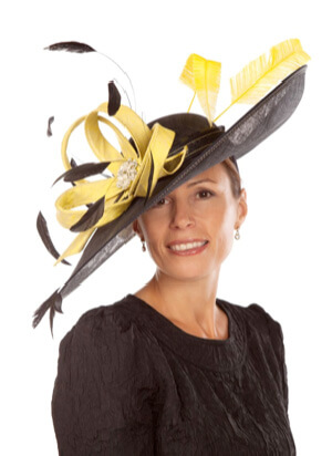 Tina Townsend Mother of the Bride black and yellow hat by Gwyther Snoxell