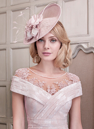 Tina Townsend Mother of the Bride light pink fascinator by John Charles