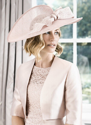 Tina Townsend Mother of the Bride light pink hat by John Charles
