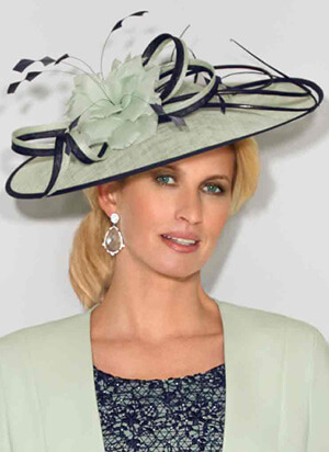 Tina Townsend Mother of the Bride mint and navy fascinator by Condici