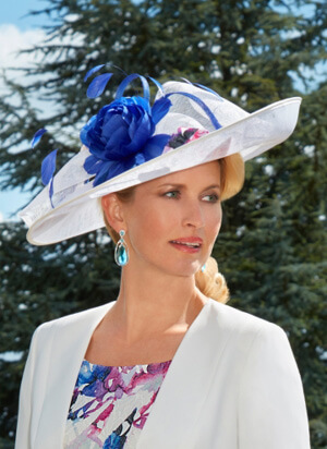 Tina Townsend Mother of the Bride blue, pink and white hat by Condici